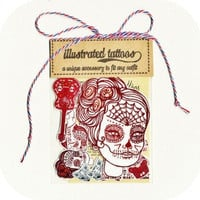 Sugar skull, Temporary tattoo, multi pack of illustrated tattoos, with  liquidskin tattoo shine off, Temp