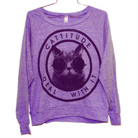 Cattitude Raglan Pullover -- Orchid (Select Size)