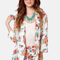 Commander in Leaf Floral Print Blazer