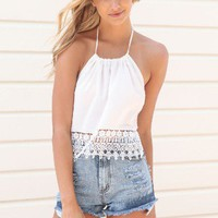 White Halter Crop Top with Crochet Hem Detail &amp; Open Back