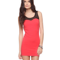 Mesh Yoke Sweetheart Dress | FOREVER21 - 2015035959
