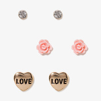 Heart, Flower & Rhinestone Stud Set