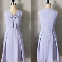 MADELINE - LAVENDER Pastel purple scarf neck tie dress// retro // vintage inspired // pleated skirt // bridesmaid dress // garden // mod