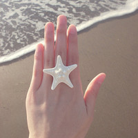 The Mermaid's Starfish Ring - Starfish Ring - Mermaid Ring - Nautical Ring - Beach Bridesmaids Gifts Cute Adorable Romantic Whimsical Dreamy