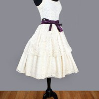 1950's Ivory Lace Tiers Tea Length Dress - M :