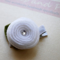 Felt Rosette Hair Clip Pictured in White and by PosiesandPetals