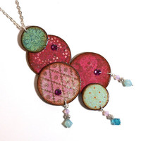Purple Statement Necklace Decoupaged Circles Pendant by rrizzart