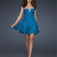 A-line Strapless V-neck Sequin Teal Mini Prom Dress PD1717