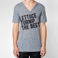 lettuce turnip the beet - heather grey vneck - men's XS, S, M, L, or XL