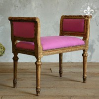 Vintage Banquette Bench in Gold Gilt & Fuschia