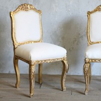 Gorgeous Pair of Vintage Louis XV Side Chairs