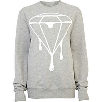 Grey dripping diamond print sweatshirt