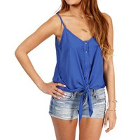 Blue Sleeveless Tie Front Top