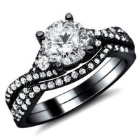 Amazon.com: 1.25ct Round Diamond Engagement Ring Wedding Set 18k Black Gold With A 0.50ct Center Diamond And 0.75ct of Surrounding Diamonds: Jewelry