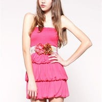 A'GACI Tier Bubble Tube Dress w/Flower Belt -    Dresses