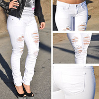 Ripped White skinny Jeans from Machine SZ 0-13 FAST-FREE SHIPPING DMP11212G