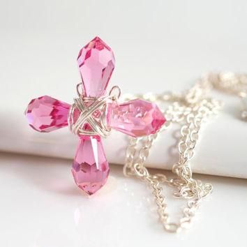 Pink Swarovski Cross Necklace, Religious Jewelry, Cross Necklace, PInk Necklace, Birthstone Necklace