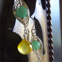 Lemon Lime Hemimorphite Yellow Chalcedony Drop by PharohsFall