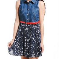 A'GACI Chambray Dotty 2fer Dress - Dresses