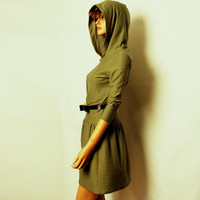 Olive Green Hooded Dress Organic Cotton by MIRIMIRIFASHION on Etsy