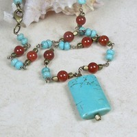 Turquoise Necklace Magnesite Pendant and Red Crackle Agate Brass