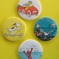 DRINK COASTERS SEUSS Set Go Dog Go Upcycled Recycled Set of 4 Round Made from Storybook Pages