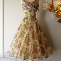 50s Dress // Vintage 1950s Floral Party Dress With Purple Flowers