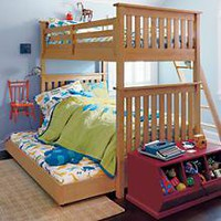 The Land of Nod | Kids&#x27; Bunk Beds: Kids Twin Natural Simple Bunk Bed in Bunk Beds
