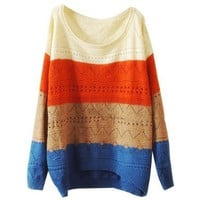 Ninimour- Fashion Women Colorway Cut Knitwear Sweater (Beige)
