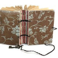 Brown and Aqua Floral Pocket journal  and Skeleton Key Closure