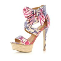 pink print bow sandals - heels - shoes / boots - women - River Island