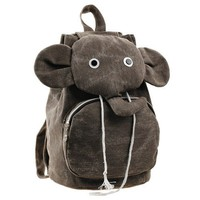 Elephant Canvas Brown Backpack