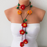 Red and Yellow Crochet Lariat Scarf Necklace by fairstore on Etsy