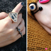 New Womens Oversized Power Superman Logo S Rhinestone Black Button Knuckle Rings | eBay