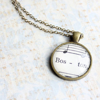 Boston necklace made with vintage sheet music.