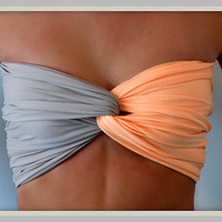 Spandex Bandeau - Matte Peach and Grey Spandex Bandeau Top - Twist Bandeau