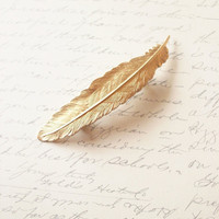 Gold Feather Barrette by dreamsbythesea
