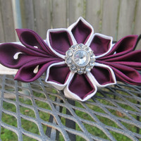 Dog Collar and Flower - READY TO SHIP White and Purple Kanzashi - Purple wedding, plum wedding, kanzashi