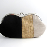 Sunglasses  Case/  Frame Clutch Purse - linen patchwork- black and burlap