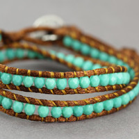 Wrap Bracelet : Teal and Bronze Lustre Bohemian Beaded Double Wrap with Brushed Silver Button, Boho, Bohemian