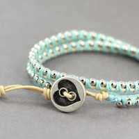 Wrap Bracelet : Adjustable Silver Ball Chain Wrap Bracelet with Teal Purple Cotton Thread and Natural Cotton Cord, Brushed Button Closure