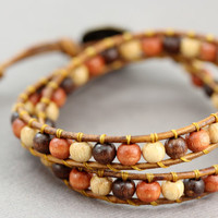 Beaded Leather Wrap Bracelet : Adjustable Wooden Bohemian Beaded Double Wrap Bracelet, Boho, Bohemian,
