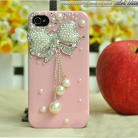 cute Pearl rhinestone diamond bowknot handmade case for iphone 4/4s