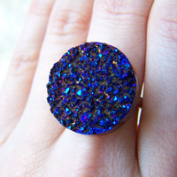Sparkly Indigo Titanium Druzy Drusy Agate Ring  by VictoryJewelry