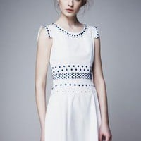 Starry Draping Slim sleeveless beaded dress