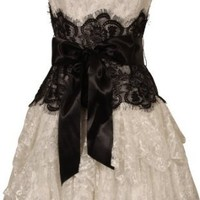 Amazon.com: Strapless Bustier Contrast Lace and Crinoline Ruffle Prom Mini Dress Junior Plus Size: Clothing