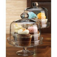 Terra Set of 2 Footed Tiered Pastry Mini Cake Cupcake Dessert Domes