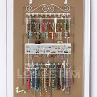 Overdoor/Wall Jewelry Organizer in White By Longstem - Unique patented product - Rated Best