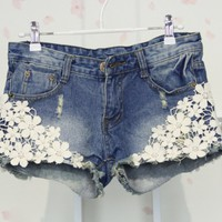 Cool Lace Flower Denim Shorts