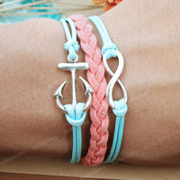 Infinity Bracelet-Infinity karma bracelet-Anchor bracelet- Gift for girl friend